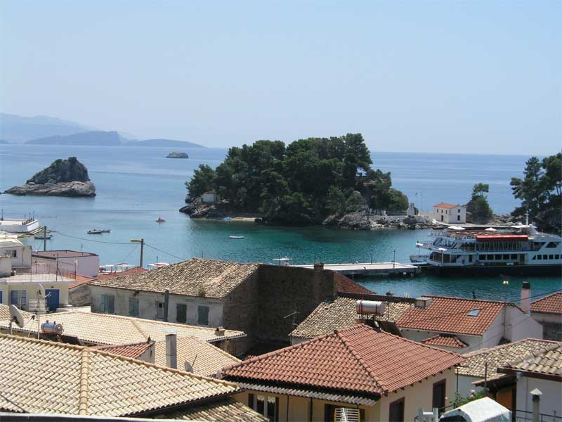 Doukas  studios Parga Greece view to the harbor.